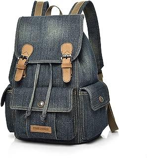 Canvas Backpack, Denim School Backpack for Teen Girls Boys Vintage Drawstring Jeans Satchel for College Student Slim Daypack