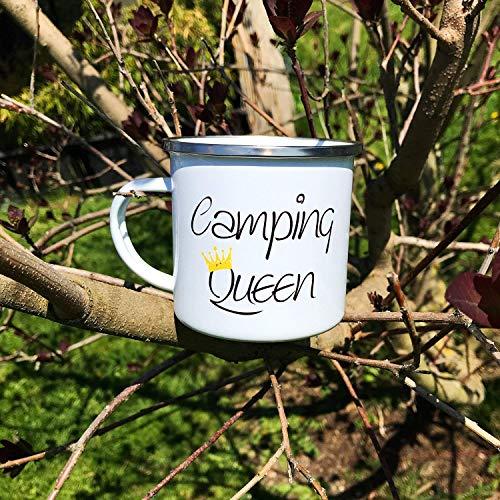Cadouri Camping Emaille Tasse CAMPING QUEEN Kaffeetasse Campingbecher Outdoortasse - 300 ml