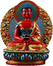 ZGPTX Ameda Statue Tibetan Pure Hand-Painted Small Statue with The Three Treasure Buddha Statue of Mizong Small Buddha Statue
