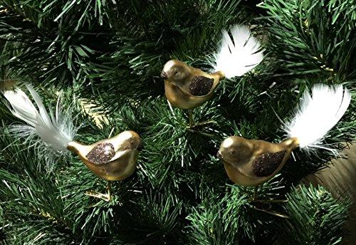 """3 tlg. Glas-Vögel Set in \""""Goldener Traum Spezial\"""" - Christbaumkugeln - Weihnachtsschmuck-Christbaumschmuck"""
