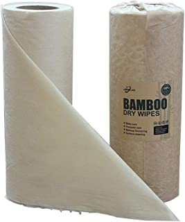 JEBBLAS Reusable Bamboo Paper Towles Washable Kitchen Paper Rolls Dry Cleaning Wipe Disposable Dish Cloth Dish Towels Oil Absorption Dry Fast Eco Friendly 50 Sheets/Roll, 2 Rolls