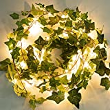 2 Pack 6 Ft. Ivy String Lights Battery Operated Artificial Ivy Lights 72 LED Vine Lights Bedroom Vines Lights for Wall Room Window Wedding Indoor Party Festival Decor (Warm White)
