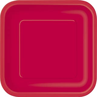 Ruby Red Solid Square 7 inch Dessert Plates, 16ct, Unisex