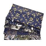 Tela de algodón cuadrada de 5 piezas, tela de algodón por metro, 50 x 50 cm, estilo japonés, tela de algodón puro para hacer manualidades