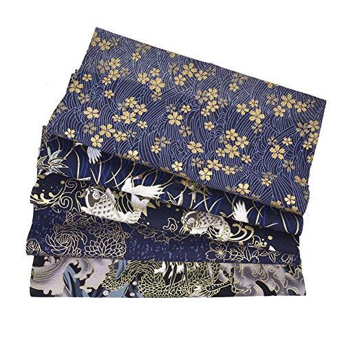 Starshop, 5 pezzi 50 cm x 50 cm in tessuto giapponese con fiori di ciliegio bronzati, tessuto trapuntato pre-tagliato per cucito, patchwork fai da te