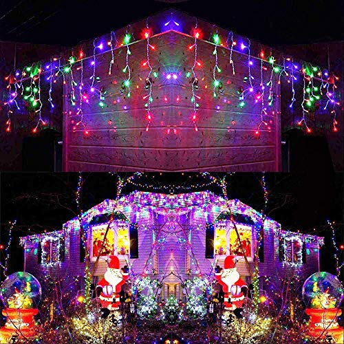 Joomer 300er LED Eisregen Lichterkette Eiszapfen Außen Lichtervorhang Weihnachten Lichter Transparent Kabel Innen Deko für Xmas Garten Party Hochzeit Strombetrieben mit Stecker(19.6ft, Mehrfarbig)