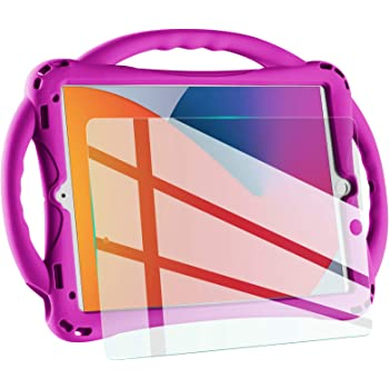 "TopEsct Kids case for New ipad 10.2 2020/2019, iPad 8th/7th Generation Case for Kids,with Tempered Glass Screen Protector and Strap,Premium Silicone Shockproof ipad 10.2"" 2020/2019 Cover.(Purple)"