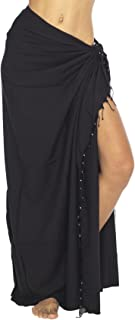 Back From Bali Womens Sarong Swimsuit Cover Up Beaded Beach Wear Bikini Wrap Skirt with Coconut Clip