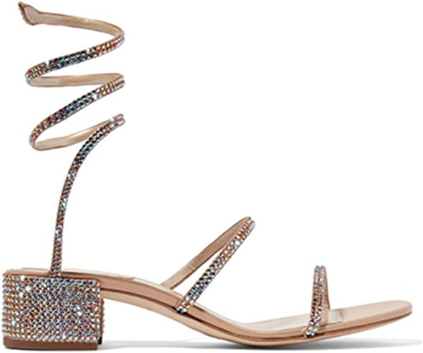 DZW femmes Rome Snake Rhinestones Strappy Lace Up Cut Out Ghillie Caged Sandals Ladies High Heel Party Wedding chaussures Taille