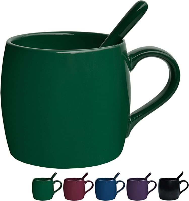 Ceramic Coffee Mug With Spoon Tea Cup For Office And Home 14 Oz 1 Pack Green Glossy