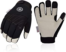 40 ℉ Winter Gloves Cold Proof Snow Work Ski Mittens with 3M Thinsulate Insulated Layers Thermal Cotton and Thick Cowhide Leather Palm Waterproof Snowproof Windproof for Men and Women OZERO