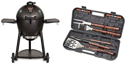Char-Griller 2137 Outlaw 1038 Square Inch Charcoal Grill Smoker with Cuisinart Grilling Set
