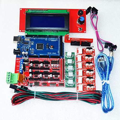 DIYUKMALL CNC 3D Printer Kit for Arduino Mega 2560 R3 + RAMPS 1.4 Controller + LCD 2004 + 6X Limit Switch Endstop + 5 A4988 Stepper Driver