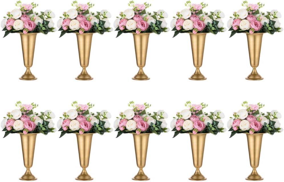 NUPTIO Pcs of Sale price 10 Flowered Metal Vase Cen Elegant New sales Wedding Trumpet