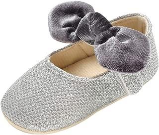Weixinbuy Toddler Baby Girl's Bowknot Soft Sole Non-Slip Slip-on Dress Ballet Flats Princess Shoes