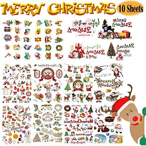 Intéressant Outils d'enfants des jouets, autocollants de Noël for les enfants, 10 feuilles de Noël avec bonhomme de neige, renne, Arbre, Père Noël de Noël à thème Planificateur d'enfants en plastique