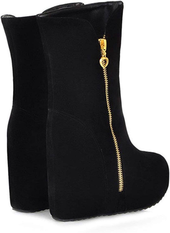 RHOMEIE Womens Wedge Platform Ankle Height Opening large release sale Ladie Boots Increased Regular store