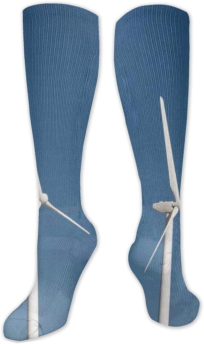 White Turbines Windmill Row Knee High Socks Leg Warmer Dresses Long Boot Stockings For Womens Cosplay Daily Wear