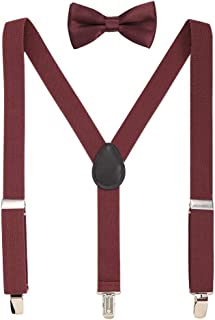 Kids Suspenders Set for Boys and Girls Adjustable Suspenders With Bow Ties