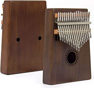 AKLOT Kalimba 17 Key, Solid Wood Thumb Piano Note Carved Starter Finger Piano with Kalimba Case Tune Hammer Study Booklet ...