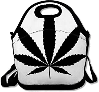 Insulated Lunch Bag for Women Men High Weed Cannabis Marijuana Leaf Hemp Pot Recreation Flat Nature Plant Outline Sativa 420 Design Reusable Lunch tote for Work Picnic School