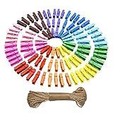 Natural Mini Pinza de Madera De Colores Papel Fotográfico Clavija Clips de Artesanía con Yute Guita, 100 Piezas