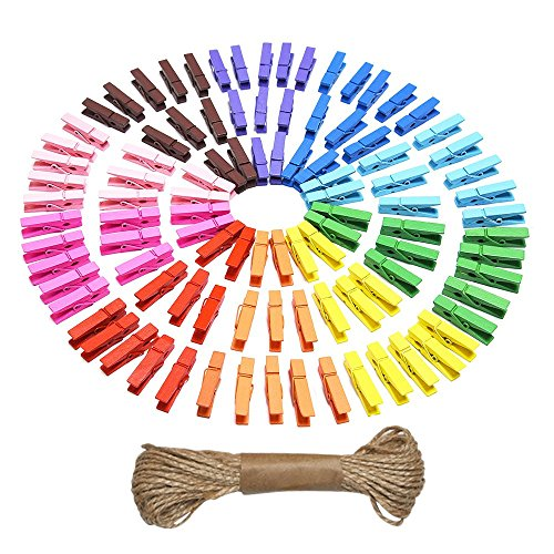 EBOOT Mini Natural Wooden Clothespins Photo Paper Peg Pin Craft Clips with Natural Twine, 100 Pieces (10 Colors)