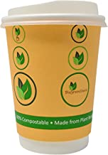 BioGreenChoice 12oz. Compostable Paper Disposable Hot Cup with Bio Lining, Double Wall with CPLA Lid- Microwave Safe, Biod...