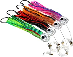 Kunsilane 9inch Set of 4 Colors Trolling Skirt Tuna Lures,Rigged Saltwater Fishing Lures for Marlin Mahi Dolphin Durado Wahoo Big Game Fishing