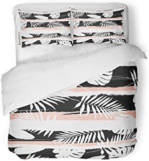 Tarolo Bedding Duvet Cover Set Pink Tropic Contemporary Geometric Palm Leaves and Stripes in Abstract Pattern Tropical Border Boho 3 Piece Queen 90