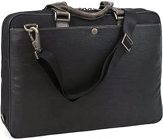 Boconi Tyler Tumbled Leather Zipster in Black w/ Khaki
