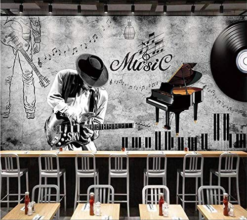 Papel pintado 3D Tema de música retro pintado a mano Pintura decorativa Sala de estar Comedor Papel pintado 3D-400Cmx280Cm