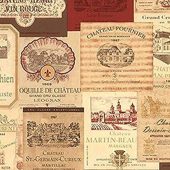 Norwall NWKK26754 Galax Wine Bottle Stamp Kitchen Textured Wallpaper Red/Orche