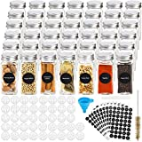 Hatoku 42 Pcs Glass Spice Jars with 400 Spice Labels, 4oz Square Spice Bottles with Shaker Lids and Airtight Metal Caps, Chalk Marker and Funnel Included