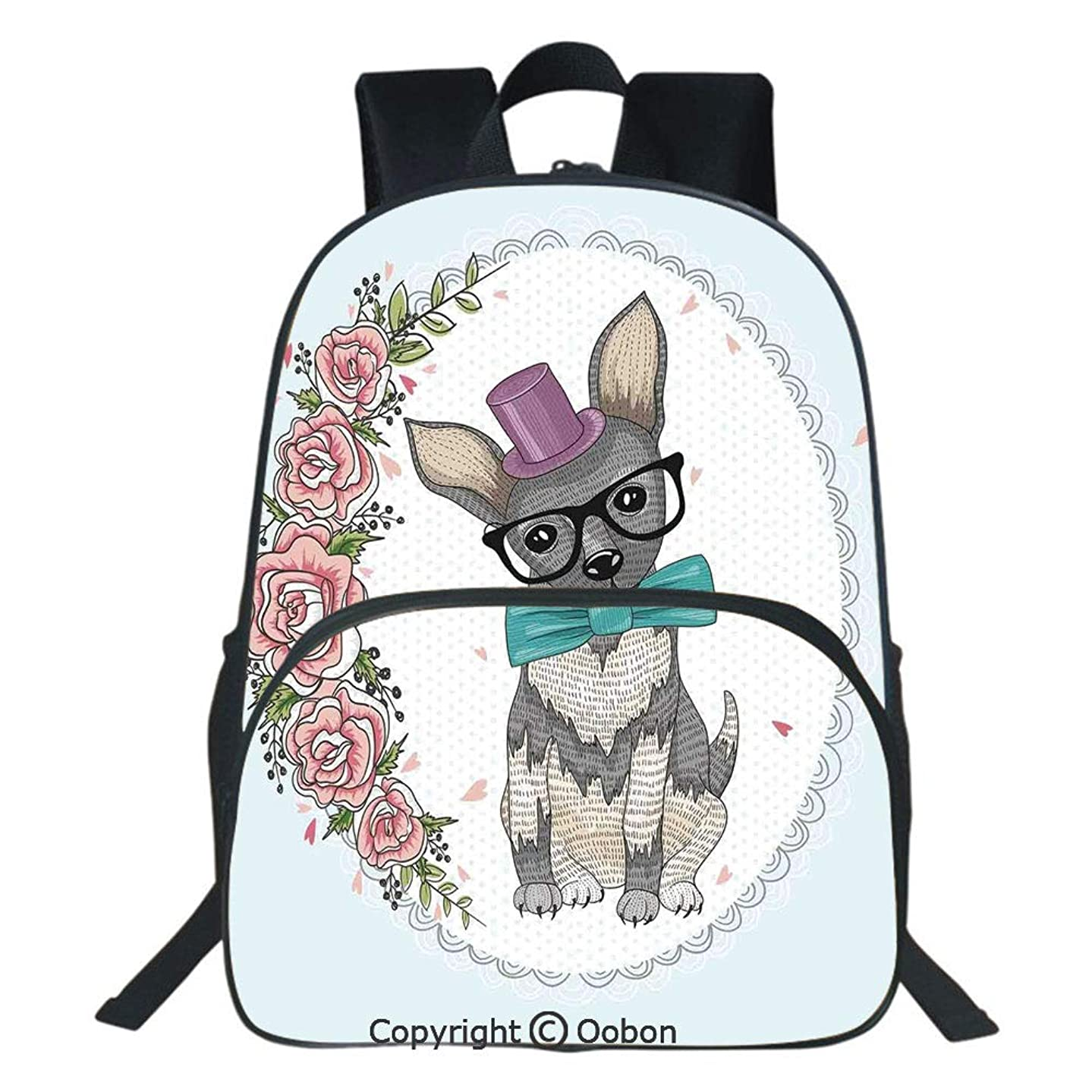 Oobon Kids Toddler School Waterproof 3D Cartoon Backpack, A Dog Puppy Retro Art Design Floral Heart and Flowers Roses Print Decorative, Fits 14 Inch Laptop