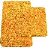 Badematten 2er-Set bestehen aus Badvorleger: ca. 50/80cm und WC-Vorleger ca. 45/50cm - Farbe: Orange - von Brandsseller