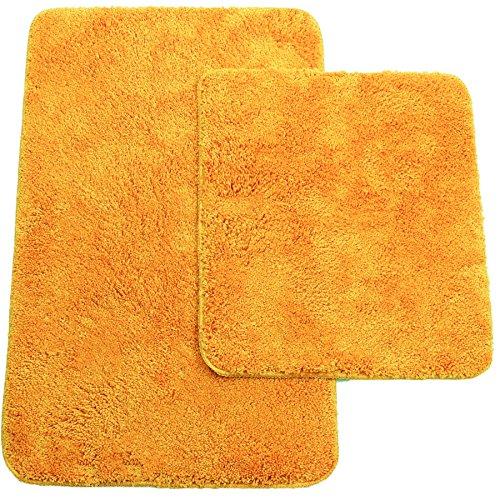 Brandsseller Tapis de Bain Jeu de 2 Tapis Comprenant: Tapis de Salle de Bain env. 50/80cm et Contour WC env. 45/50cm – Coloris : Orange – de