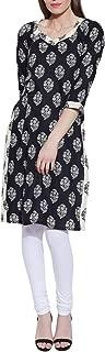 Long Sleeve V-neck Black Print Cotton Dress - Unique Women's Fashions