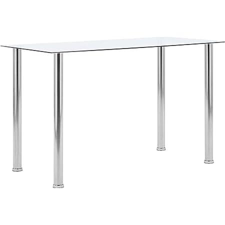 pedkit Table de Salle à Manger Table à Dîner Transparent 120x60x75 cm Verre Trempé