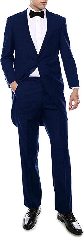 Frank Men's 2 Pcs Tuxedo Suit Magician Long Tail Coat Single Breasted Jacket Pants