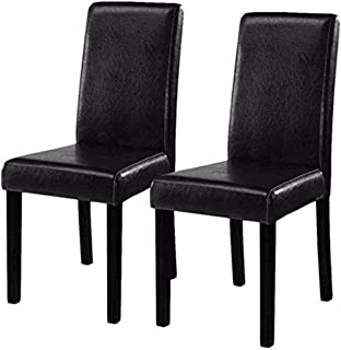 Best black leather chairs dining Reviews