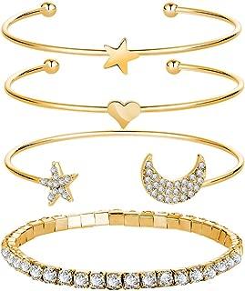 Gold Heart Star Moon Zirconia Bangle Bracelets Girls,Open Wrapped Bangles 4 Pcs Set