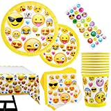 Kompanion 81-teiliges Party-Set Emoji Kindergeburtstag Partydekoration - Pappteller, Tassen, Servietten, Tischdecke und Bonus Emoji Aufkleber, Geburtstagsfeier Zubehör für 20 Kinder