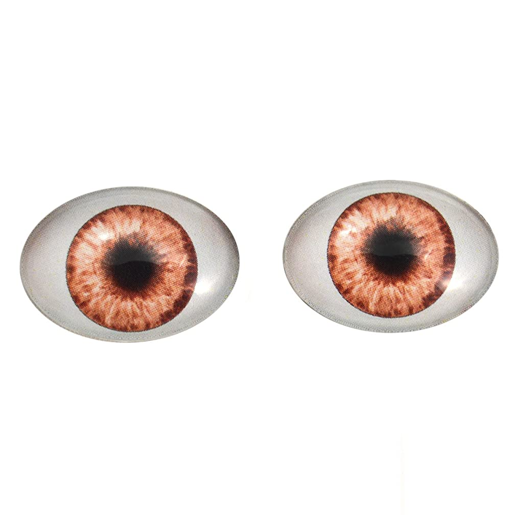Brown Doll Oval Glass Eyes Fantasy Taxidermy Art Doll Making or Jewelry Crafts Set of 2 (18mm x 25mm)