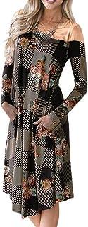 iHENGH Damen Frühling Sommer Rock Bequem Lässig Mode Kleider Frauen Röcke Womens Plaid Patchwork Lässiges O-Neck-Kleid mit Print