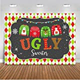 Mocsicka Ugly Sweater Backdrop 7x5ft Vinyl Get Ugly Tacky Christmas Sweater Party Decoration Banner Supplies Merry Christmas Elf Home Décor Photography Backdrops