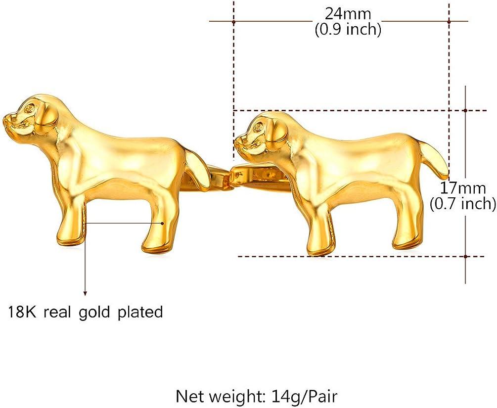 U7 Men Women Personalizd Funny Cufflinks for Party Platinum/18K Gold Plated Metal Stud Kangaroo/Dog/Horse/Yellow Duck Cufflinks Branded Gift Box