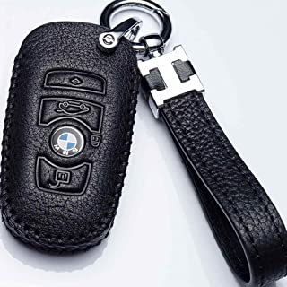 Hey Kaulor For BMW Key Fob Cover, Full Protection Soft Leather Key Fob Case Compatible with 1 3 4 5 6 7 Series and X3 X4 M5 M6 GT3 GT4 Keyless Remote Control Smart Key Fob, Black