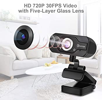 HD Webcam, EIVOTOR PC Webcam 720P USB Mini Computer Camera Built-in Mic, Flexible Rotatable Clip, for Laptops and Des...