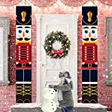 Meanwell Nutcracker Christmas Decorations - WISREMT Outdoor Xmas Decor - Life Size Soldier Model Nutcracker Banners for Front Door Porch Garden Indoor Exterior Kids Party Yard Gate 32x180cm